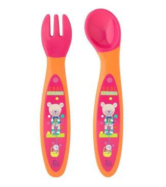 Rotho Babydesign Evőeszköz készlet, málna / mandarin, 2 darab