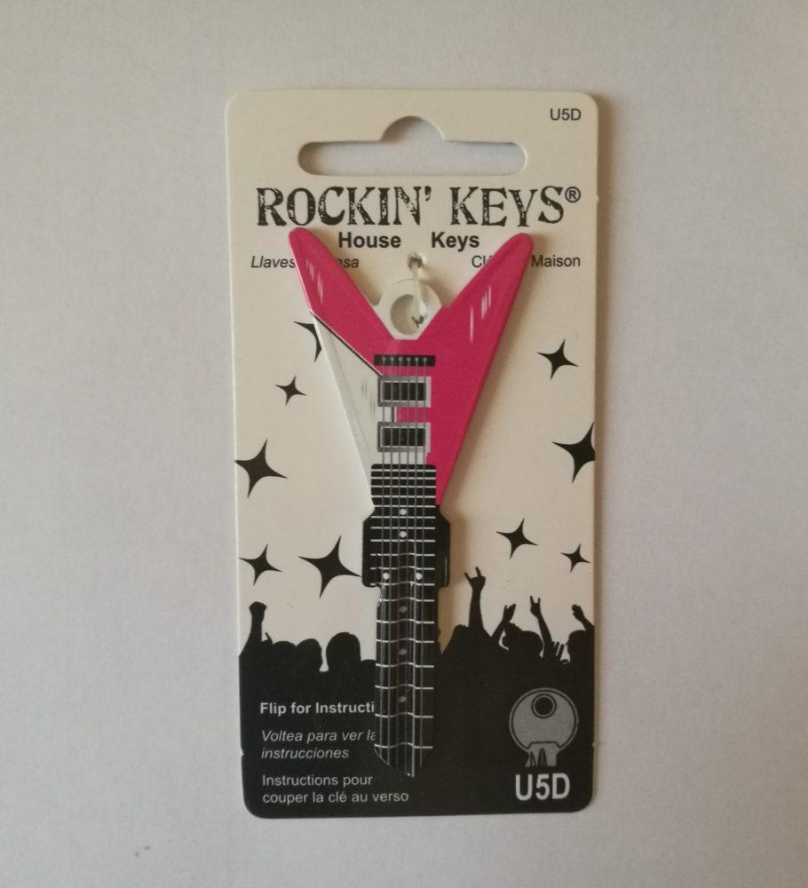 Gitár alakú kulcs, rózsaszín