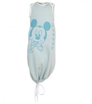 Hálózsák, ujjatlan, bio pamut, Disney Mickey kék csíkos mintával