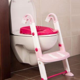 KidsKit WC fellépő lépcső, bili és szűkítő, 3 az 1-ben, fehér-rózsaszín