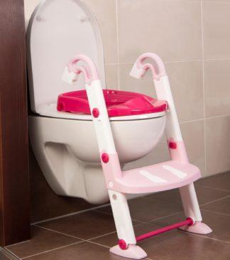 KidsKit WC fellépő lépcső, bili és szűkítő, 3 az 1-ben, fehér-rózsaszín-pink