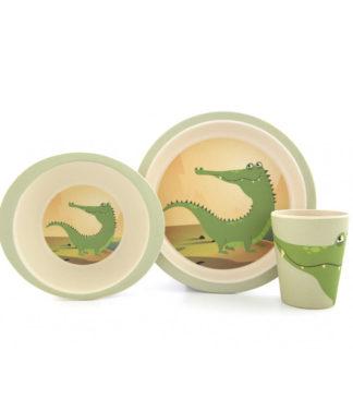 Yuunaa bambusz gyerek étkészlet, krokodil