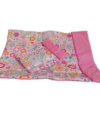NOLA Kétrészes babaágynemű garnitúra, rózsaszín virágos