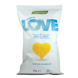 "Organique Kukorica Snack, Tengeri Sós, ""LOVE"", BIO, 50g"