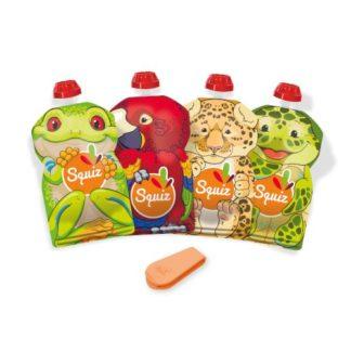 SQUIZ ételtasak, 4 darabos, Esőerdő (Papagáj, Béka, Teknős, Leopárd), 130 ml